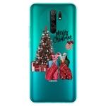 For Xiaomi Redmi 9 Christmas Series Transparent TPU Protective Case(Christmas Pajamas)
