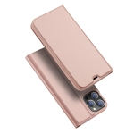 DUX DUCIS Skin Pro Series Horizontal Flip PU + TPU Leather Case with Holder & Card Slots For iPhone 12 Pro Max(Rose Gold)