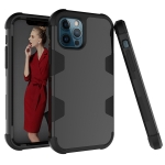 For iPhone 12 Pro Max Contrast Color Silicone + PC Shockproof Case(Black)