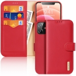 DUX DUCIS Hivo Series Cowhide + PU + TPU Leather Horizontal Flip Case with Holder & Card Slots For iPhone 12 mini(Red)