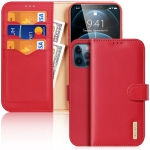 DUX DUCIS Hivo Series Cowhide + PU + TPU Leather Horizontal Flip Case with Holder & Card Slots For iPhone 12 Pro(Red)