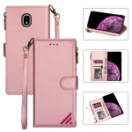 For Samsung Galaxy J3(2018) Zipper Multi-card Slots Horizontal Flip PU Leather Case with Holder & Card Slots & Wallet & Lanyard & Photo Frame(Rose Gold)