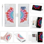 For Samsung Galaxy Note9 Printing Dual-color Half Mandala Pattern Dual-side Magnetic Buckle Horizontal Flip Leather Case with Holder & Card Slots & Wallet & Photo Frame & Lanyard(White)