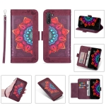 For Samsung Galaxy Note10 Printing Dual-color Half Mandala Pattern Dual-side Magnetic Buckle Horizontal Flip Leather Case with Holder & Card Slots & Wallet & Photo Frame & Lanyard(Wine Red )