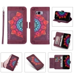 For Samsung Galaxy S8 Printing Dual-color Half Mandala Pattern Dual-side Magnetic Buckle Horizontal Flip Leather Case with Holder & Card Slots & Wallet & Photo Frame & Lanyard(Wine Red )