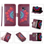 For Samsung Galaxy S9 Printing Dual-color Half Mandala Pattern Dual-side Magnetic Buckle Horizontal Flip Leather Case with Holder & Card Slots & Wallet & Photo Frame & Lanyard(Wine Red )