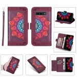 For Samsung Galaxy S10 Printing Dual-color Half Mandala Pattern Dual-side Magnetic Buckle Horizontal Flip Leather Case with Holder & Card Slots & Wallet & Photo Frame & Lanyard(Wine Red )
