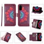 For Samsung Galaxy S20 FE 5G Printing Dual-color Half Mandala Pattern Dual-side Magnetic Buckle Horizontal Flip Leather Case with Holder & Card Slots & Wallet & Photo Frame & Lanyard(Wine Red )