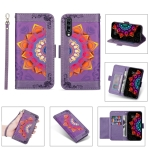 For Samsung Galaxy A70 Printing Dual-color Half Mandala Pattern Dual-side Magnetic Buckle Horizontal Flip Leather Case with Holder & Card Slots & Wallet & Photo Frame & Lanyard(Purple)