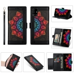 For Samsung Galaxy A41 Printing Dual-color Half Mandala Pattern Dual-side Magnetic Buckle Horizontal Flip Leather Case with Holder & Card Slots & Wallet & Photo Frame & Lanyard(Black)