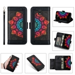For Samsung Galaxy J4 (2018) Printing Dual-color Half Mandala Pattern Dual-side Magnetic Buckle Horizontal Flip Leather Case with Holder & Card Slots & Wallet & Photo Frame & Lanyard(Black)