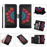 For Samsung Galaxy J3 (2017) / J330 Printing Dual-color Half Mandala Pattern Dual-side Magnetic Buckle Horizontal Flip Leather Case with Holder & Card Slots & Wallet & Photo Frame & Lanyard(Black)