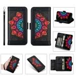 For Samsung Galaxy J3 (2017) / J330 Printing Dual-color Half Mandala Pattern Dual-side Magnetic Buckle Horizontal Flip Leather Case with Holder & Card Slots & Wallet & Photo Frame & Lanyard(Black)