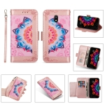 For Xiaomi Redmi 8A Printing Dual-color Half Mandala Pattern Dual-side Magnetic Buckle Horizontal Flip Leather Case with Holder & Card Slots & Wallet & Photo Frame & Lanyard(Rose Gold)