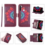 For Xiaomi Redmi Note 8 Printing Dual-color Half Mandala Pattern Dual-side Magnetic Buckle Horizontal Flip Leather Case with Holder & Card Slots & Wallet & Photo Frame & Lanyard(Wine Red)