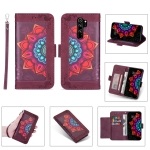 For Xiaomi Redmi Note 8 Pro Printing Dual-color Half Mandala Pattern Dual-side Magnetic Buckle Horizontal Flip Leather Case with Holder & Card Slots & Wallet & Photo Frame & Lanyard(Wine Red)