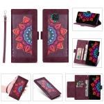 For Xiaomi Redmi Note 9 Pro Printing Dual-color Half Mandala Pattern Dual-side Magnetic Buckle Horizontal Flip Leather Case with Holder & Card Slots & Wallet & Photo Frame & Lanyard(Wine Red)