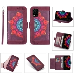 For Xiaomi Mi 10 Lite Printing Dual-color Half Mandala Pattern Dual-side Magnetic Buckle Horizontal Flip Leather Case with Holder & Card Slots & Wallet & Photo Frame & Lanyard(Wine Red)