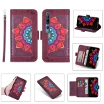 For Xiaomi Mi 10 Pro Printing Dual-color Half Mandala Pattern Dual-side Magnetic Buckle Horizontal Flip Leather Case with Holder & Card Slots & Wallet & Photo Frame & Lanyard(Wine Red)