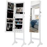 [US Warehouse] Fashion Simple Jewelry Storage Mirror Cabinet with LED Lights, Size: 38 x 40 x 156cm(White)