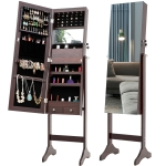 [US Warehouse] Fashion Simple Jewelry Storage Mirror Cabinet with LED Lights, Size: 38 x 40 x 156cm(Brown)