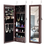 [US Warehouse] Fashion Hanging Type Simple Jewelry Storage Mirror Cabinet, Size: 36.1×9.8×110.2cm(Brown)