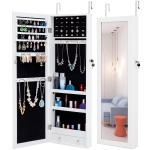 [US Warehouse] Fashion Hanging Type Simple Jewelry Storage Mirror Cabinet, Size: 36.1×9.8×110.2cm(White)