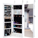 [US Warehouse] Fashion Hanging Type Jewelry Storage Mirror Cabinet with LED Lights, Size: 36.1×9.8×110.2cm(White)