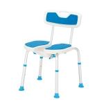 [US Warehouse] Aluminum Alloy 6-Speed Lifting Hollow Bath Chair with PE Stool & Rubber Foot Cushion & Backrest (Blue White)