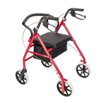 [US Warehouse] Steel Nylon Walker with Wheels (Black Red)