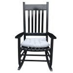 [US Warehouse] Indoor and Outdoor Universal Solid Wood Rocking Chairs with Armrests & Soft Cushions, Size: 46.5 x 33.5 x 26 inch(Black)
