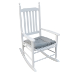 [US Warehouse] Indoor and Outdoor Universal Solid Wood Rocking Chairs with Armrests & Soft Cushions, Size: 45.25 x 32.9 x 24.5 inch(White)