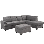[US Warehouse] Living Room Three-seat Sofa Multifunctional Sofa Bed with Recliners & Storage Ottoman & Pillows