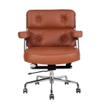 [UK Warehouse] HJ205C Rotatable Lifting Adjustable Office Chairs Retro PU Leather Leisure Chairs Gaming Chairs Recliner(Light Brown)