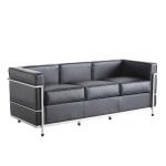 [UK Warehouse] SF203A Stainless Steel Frame PU Leather Sofa Living Room Lounge Sofa Three-seat Sofa