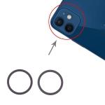 2 PCS Rear Camera Glass Lens Metal Protector Hoop Ring for iPhone 12 (Black)