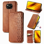 For Xiaomi Poco X3 NFC Cubic Grid Pressed Horizontal Flip Magnetic PU Leather Case with Holder & Card Slots & Wallet(Brown)