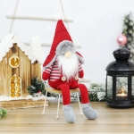 Christmas Long-Legged Sitting Faceless Doll Santa Claus Hotel Restaurant Decoration Gift Decoration(Pointed Hat)