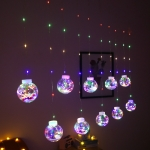 LED Copper Wire Curtain Light Wishing Ball Christmas Decoration String Lights, Random Style Delivery, Plug Type:EU Plug(Colorful Light)