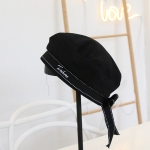 Ribbon Bowknot Beret All-Match Student Army Cap Letter Embroidery Octagonal Hat, Size: M (56-58cm)(Black)