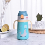 Cartoon Animal Pattern Children Straw Stainless Steel Vacuum Flask Water Bottle(Green)