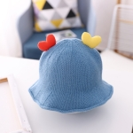 Baby Love-heart Knitted Hat Children Wild Knitted Fisherman Hat, Size: L(Blue)