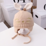 MZ9843 Rabbit Shape Newborn Woolen Hat Baby Autumn And Winter Plus Cotton Warm Knitted Hat, Size: Free Size(Beige)
