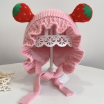 Children Cotton Fruit Shape Woolen Hat Baby Warm Knitted Hat, Size: Free Size(Pink)
