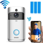 EKEN V5 720P Wireless WiFi Smart Video Doorbell, Support Motion Detection & Infrared Night Vision & Two-way Voice, Package 1: Doorbell + 3 x 18650 Batteries(Silver)