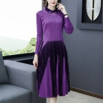 Loose Mesh Dress Flannel Stitching Long-sleeved A-line Dress (Color:Purple Size:Free Size)