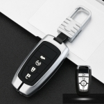 Car Luminous All-inclusive Zinc Alloy Key Protective Case Key Shell for Ford H Style Smart 4-button (Silver)