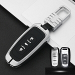 Car Luminous All-inclusive Zinc Alloy Key Protective Case Key Shell for Geely A Style Smart 3-button (Silver)