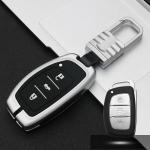 Car Luminous All-inclusive Zinc Alloy Key Protective Case Key Shell for Hyundai B Style Smart 3-button (Silver)