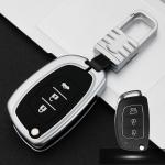 Car Luminous All-inclusive Zinc Alloy Key Protective Case Key Shell for Hyundai C Style Folding 3-button (Silver)